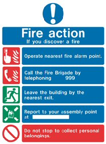 what to do if you discover a fire - sign